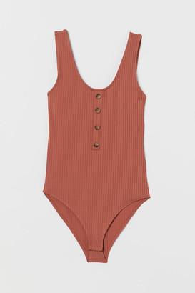 H&M Ribbed Bodysuit - Orange