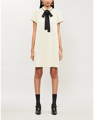 RED Valentino Bow-detail crepe mini dress
