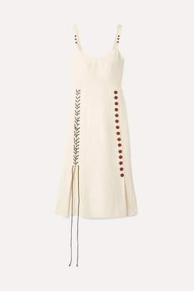 By Malene Birger Lace-up Woven Midi Dress - Cream