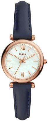Fossil Women Mini Carlie Navy Leather Strap Watch 28mm