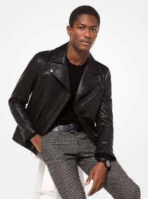 Michael Kors Grained Leather Moto Jacket