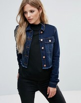 Noisy May Cropped Frayed Hem Denim Jacket
