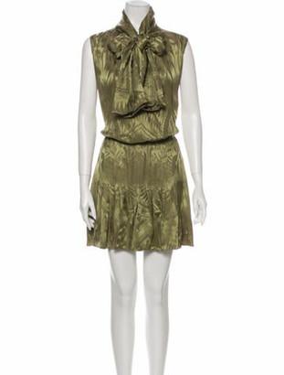 Balmain Printed Mini Dress w/ Tags Green