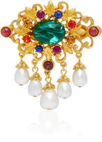 Ben-Amun Ben Amun Gold-Plated Brass Faux Pearl and Crystal Brooch