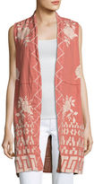 Johnny Was Letty Linen Embroidered Long Vest, Plus Size