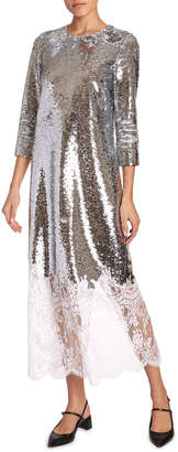 Erdem Evanna 3/4-Sleeve Sequined Lace-Hem Dress