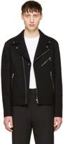 Neil Barrett Black Raw Cut Wool Biker Jacket