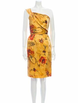 Alberta Ferretti Silk Knee-Length Dress Yellow