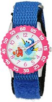 Disney Girl's 'Finding Dory' Quartz Stainless Steel and Nylon Automatic Watch, Color:Blue (Model: W003101)