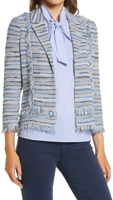 Ming Wang Stripe Tweed Knit Jacket
