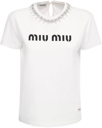 Miu Miu Embellished Logo Print Jersey T-shirt
