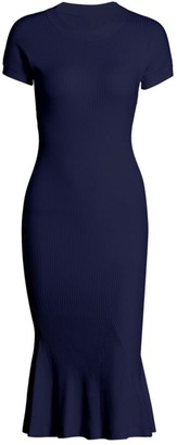 Brandon Maxwell Rib-Knit Midi Dress