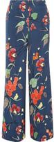 Diane von Furstenberg Pleated Printed Crepe De Chine Wide-leg Pants - Blue