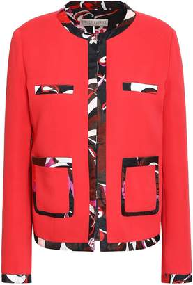Emilio Pucci Printed Satin Twill-trimmed Crepe Jacket