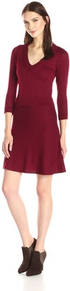 Design History Women's Ottoman and Flare Skirt Sweater Dress