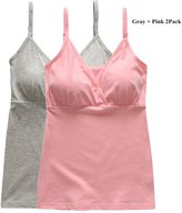 BabyPreg® Women Maternity Nursing Tank Breastfeeding Top with Insert Bra Pad (M(36B-36DD), )