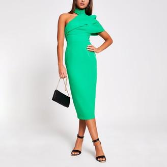 River Island Womens Green one shoulder bodycon midi dress