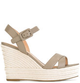 Sergio Rossi wedged sandals - women - Cotton/Calf Leather/Leather/rubber - 39.5