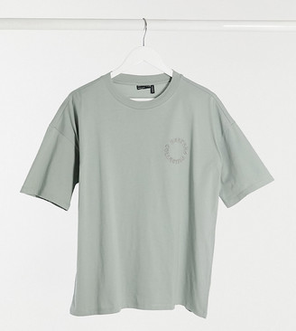 ASOS Weekend Collective Tall oversized t-shirt with embroidered logo in sage