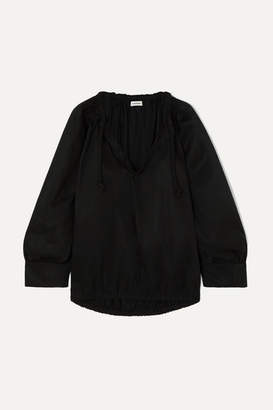 Totême Armo Gathered Lyocell And Cotton-blend Blouse - Black