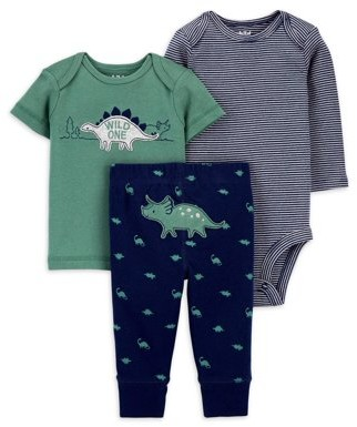 Child of Mine by Carter's Baby Boy Long Sleeve Bodysuit, Short Sleeve Shirt, and Pant Outfit Set, 3pc