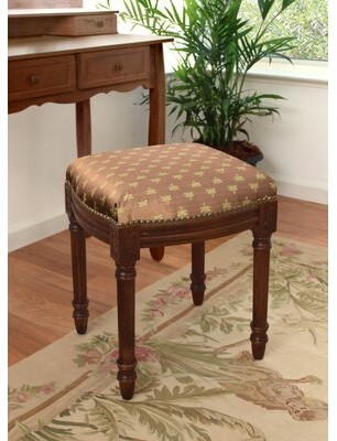 Charlton Home Hollaway Dragonfly Upholstered Vanity Stool with Nailheads Color: Bronze