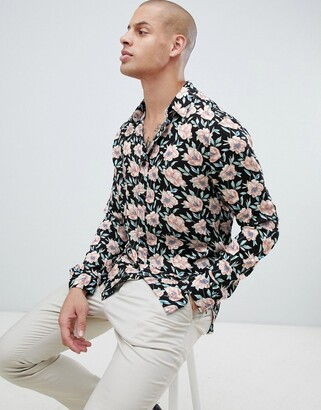 Religion revere collar shirt in rayon with floral print