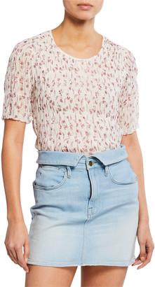 Frame Floral-Print Smocked Short-Sleeve Top