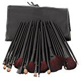 Professional 32-Piece Cosmetic Makeup Make Up Brushes Set Kit With Leather Case Bag Pouch Black