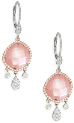 Meira T Rose Quartz, Rose Gold Mother-Of-Pearl & 18K Rose Gold Drop Earrings