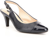 Alex Marie Hartly Leather Patent Cap Toe Slingback Pumps