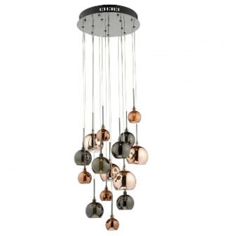 Där Lighting Dar Lighting - Aurelia 15 G4 Spiral Pendant Light - Copper/Black/Glass