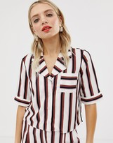Monki cropped shirt in black and pink stripe