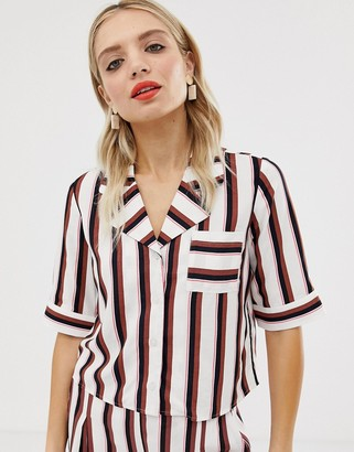 Monki cropped shirt in black and pink stripe-Multi