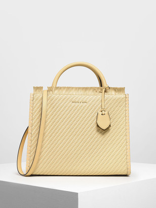 Charles & Keith Frayed Woven Tote Bag
