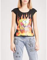 Moschino Flaming Spongebob-print stretch-jersey T-shirt
