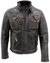 Infinity Men's Warm Vintage Brando Leather Biker Jacket XL