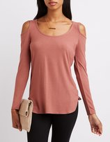 Charlotte Russe Ribbed Cold Shoulder Tee
