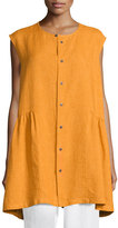 eskandar Sleeveless Button-Front Top