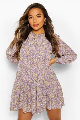 boohoo Petite Floral Smock Dress
