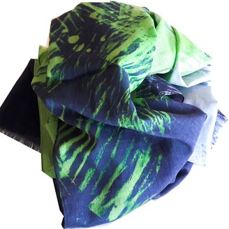 Abstudio Abramovich Patricia Green & Blue Natural Cotton Scarf