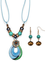 Murano MIXIT Mixit Antiqued Gold-Tone Blue Glass Pendant Necklace and Earring Set