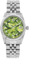 Forzieri Trevi Silver Tone Stainless Steel Women's Watch w/Green Camo Dial
