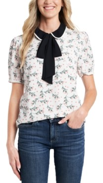 CeCe Collared Printed Bow Blouse