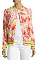 Moschino Palm-Print Bomber Jacket, Pink/Yellow