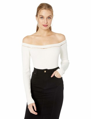 GUESS Women's Long Sleeve Off Shoulder Pointelle Rib Sweater