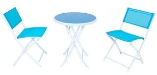 LeisureMod 3-Piece Patio Outdoor Iron Folding Table Chairs Bistro Set