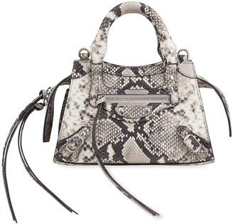 Balenciaga Neo Classic City Mini Python-Printed Leather Satchel Bag