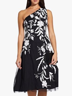 Adrianna Papell Asymmetric Embellished Dress, Black/Ivory