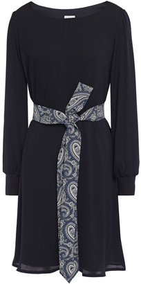 Claudie Pierlot Belted Crepe Mini Dress